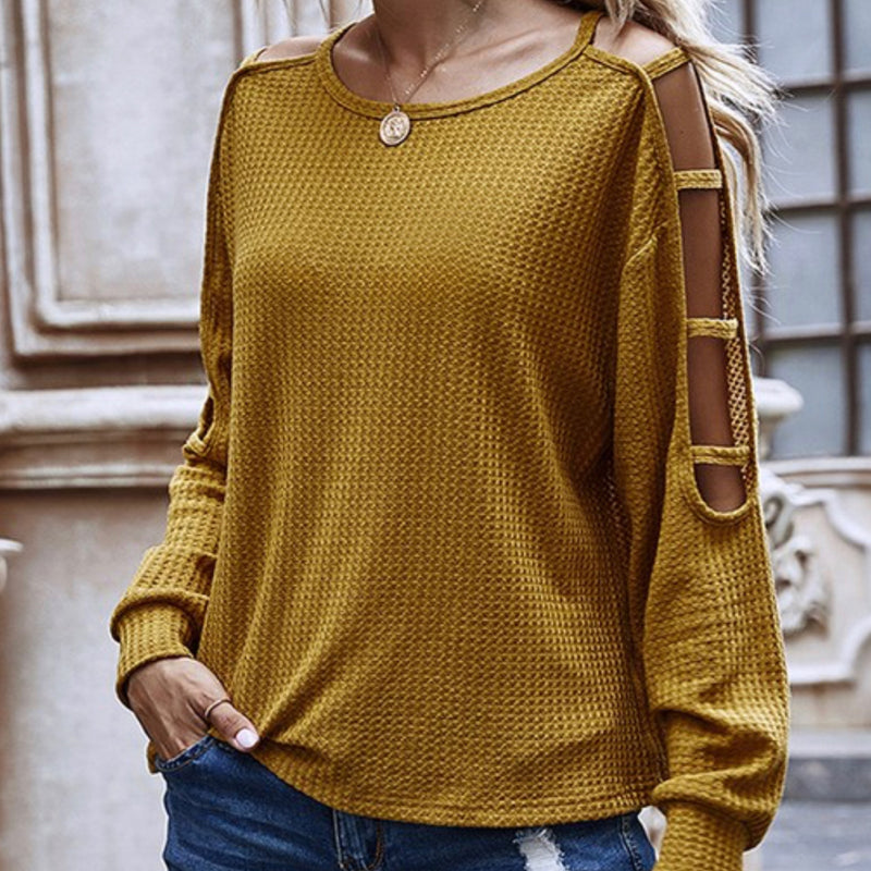 Detail Sleeve Waffle Knit Top Mustard