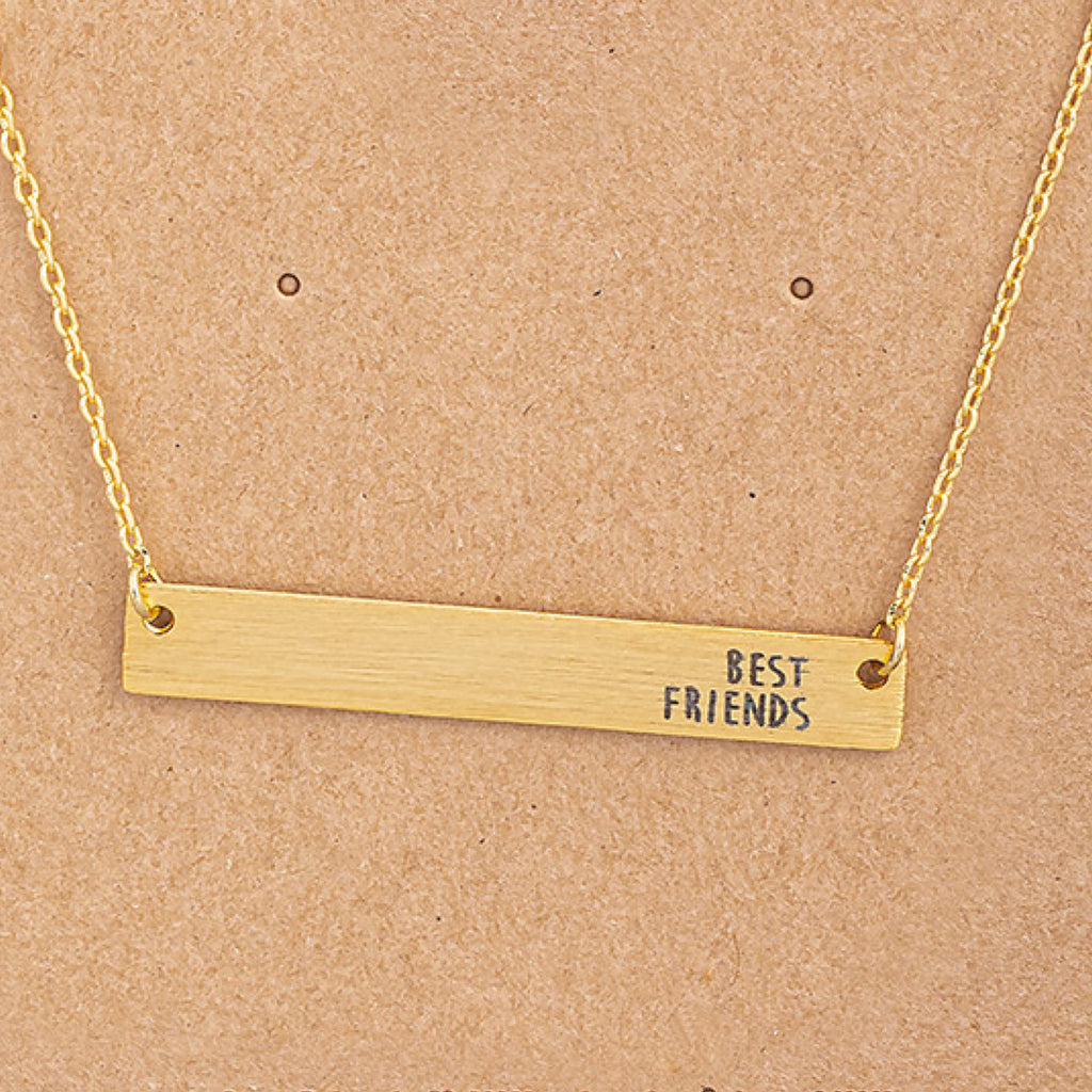 Best Friends Bar Pendant Necklace