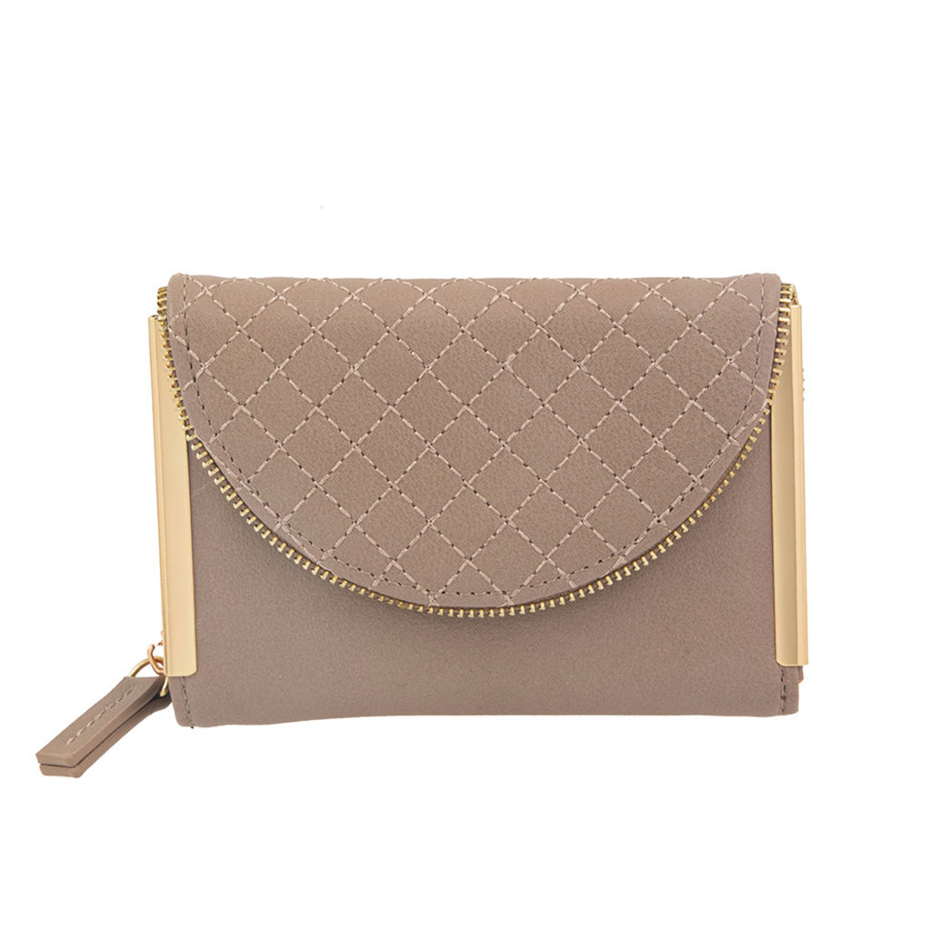 Two Fold Faux Leather Fashion Wallet Taupe