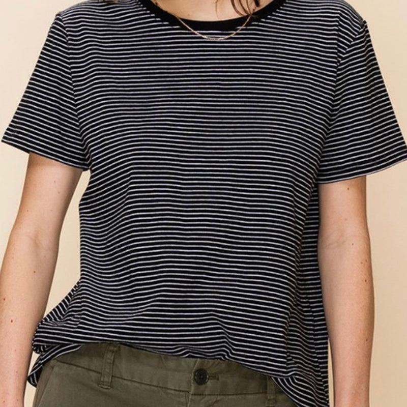 Striped Boyfriend Tee Blk/Wht