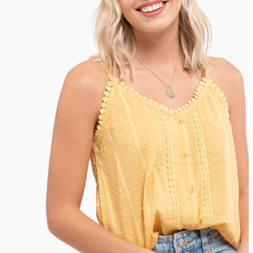 June Textured Button Detail Top Yellow