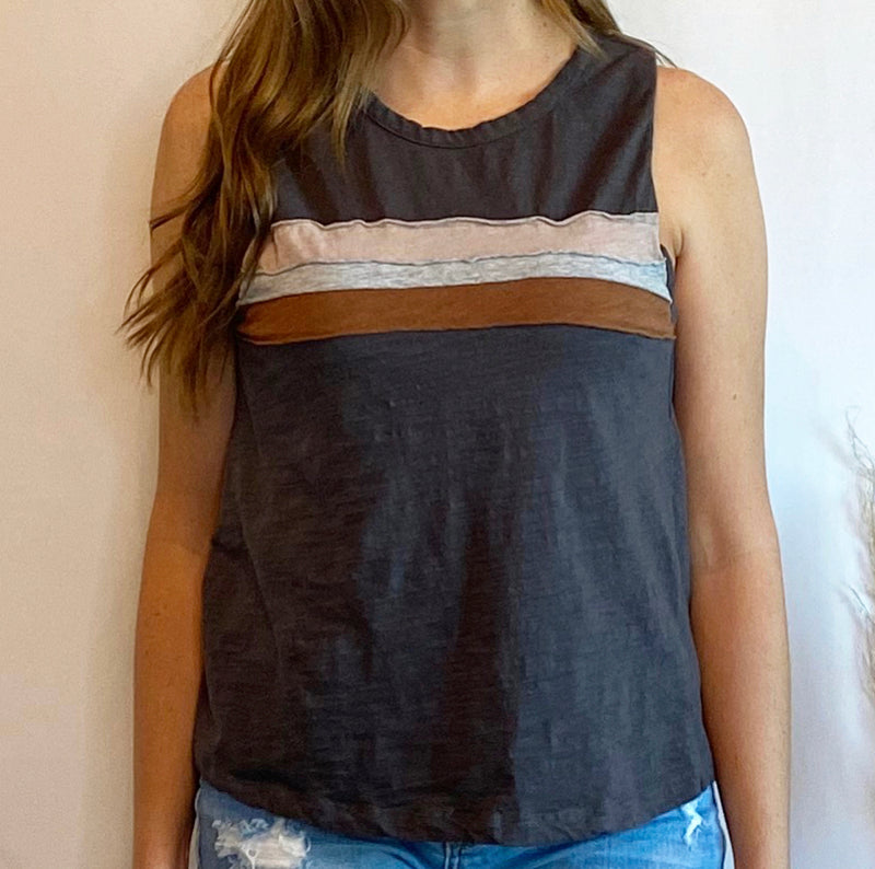 Color Stripe Muscle Tank Top Charcoal