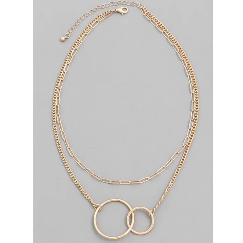 QN4079 Layered Chain Linked Charm Necklace