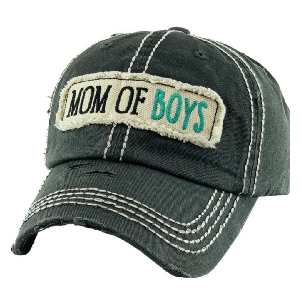 Mom of Boys Washed Vintage Distressed Baseball Cap Black