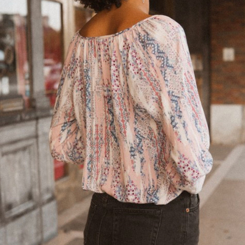 Woven Multicolored Abstract Top Mauve