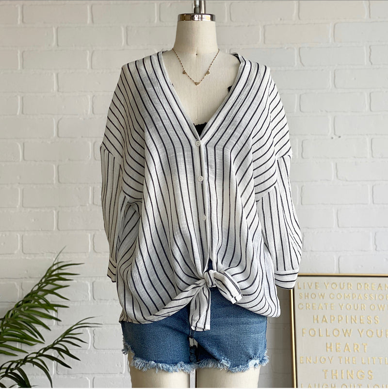 FL20F997 Stripe V Neck Top