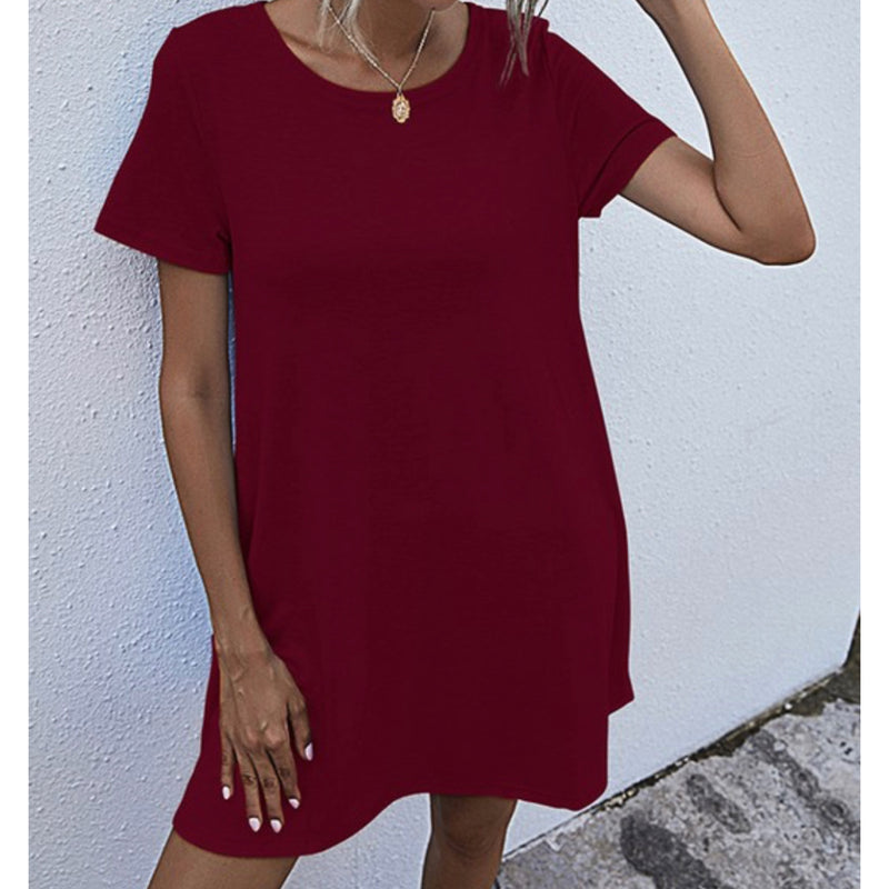 Solid Color Loose Fit One Piece Dress Burgundy