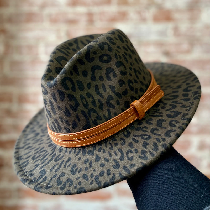Style Staple Leopard Brim Hat Olive