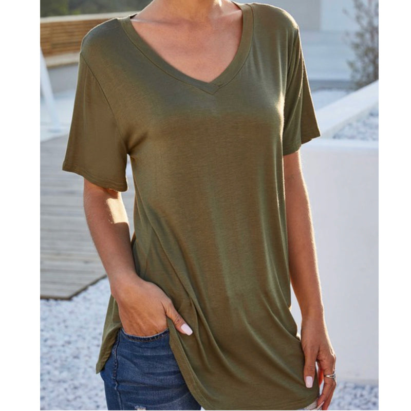 Necessity V Neck Relaxed Fit Tee Army Green