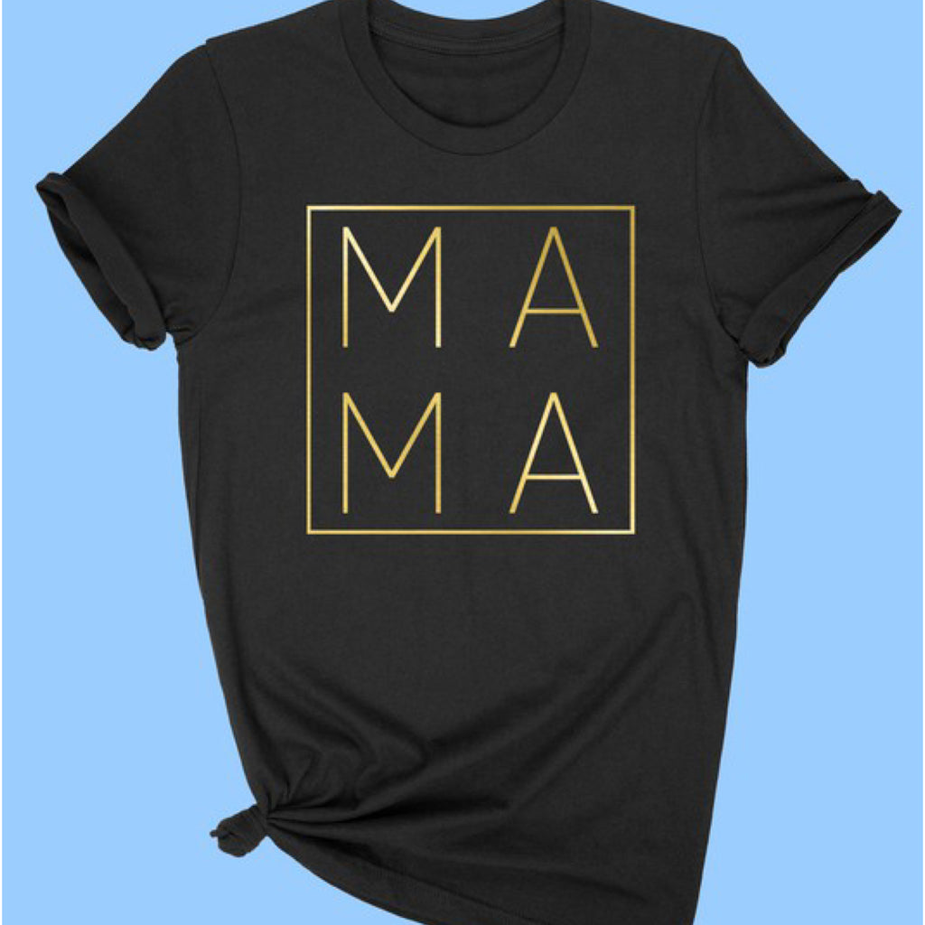 PREORDER Gold Foil Mama Graphic Print Tee Black