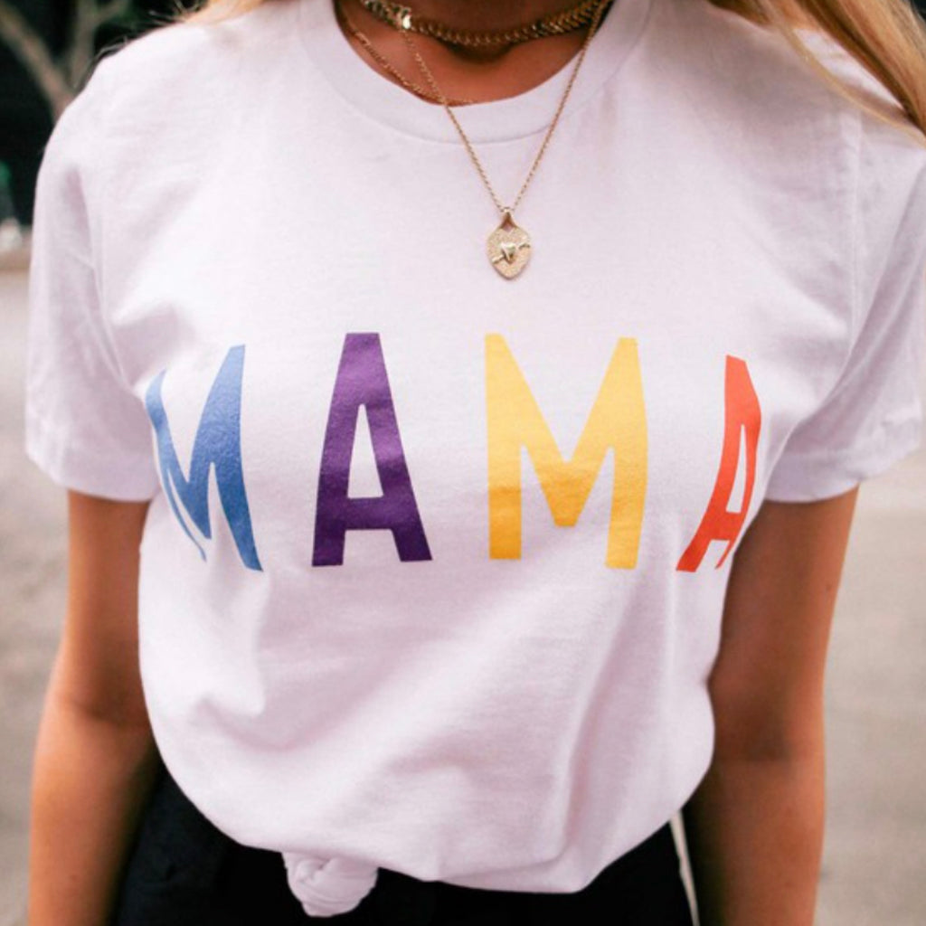 2031-TS-6 Mama Multi Colored Print Tee