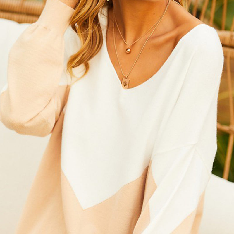 V Neck Color Block Sweater Beige