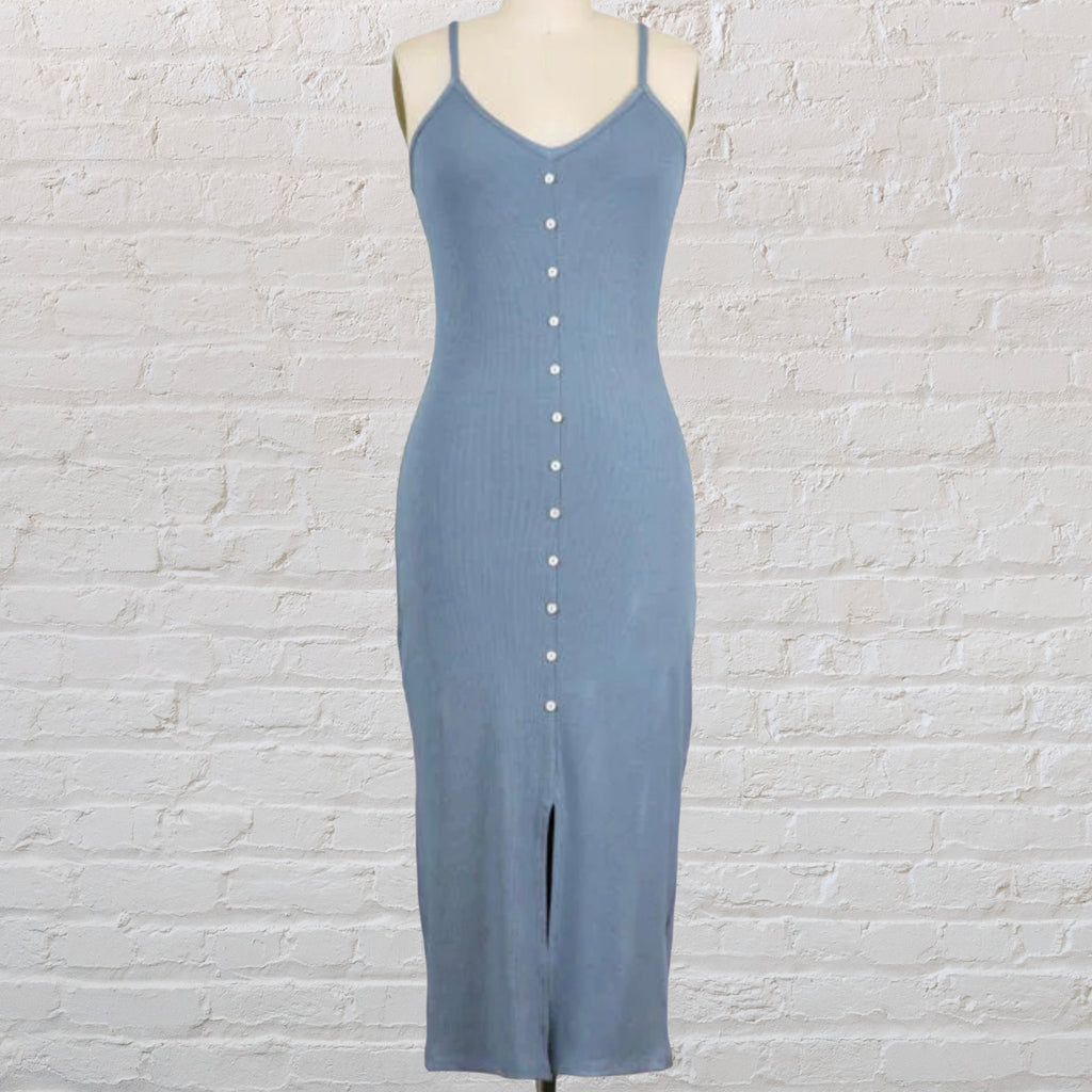 Ribbed Button Front Dress Dusty Denim