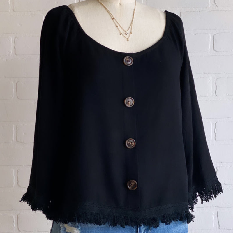 Button Detail Fringe Top Black