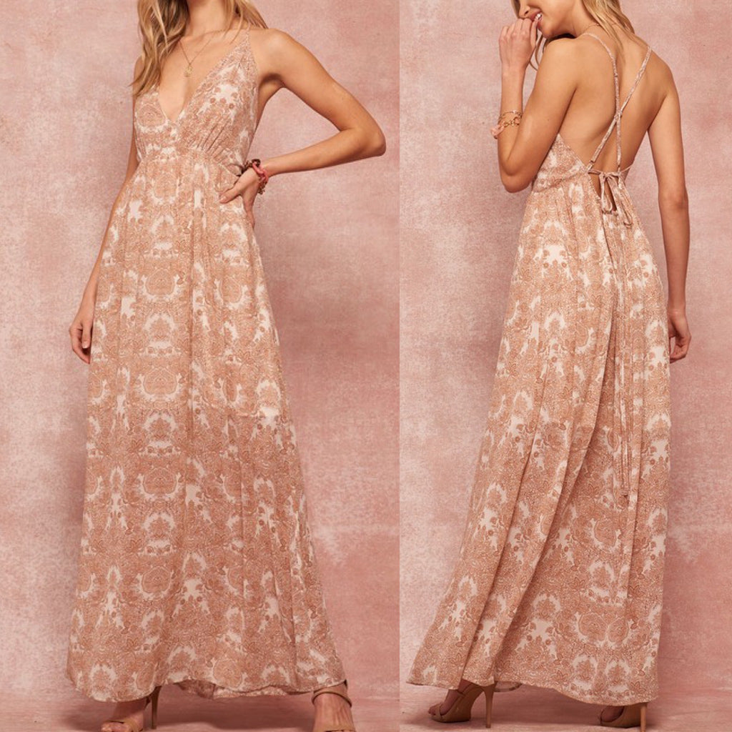 Ornate Floral Chiffon Open-Back Halter Maxi Dress