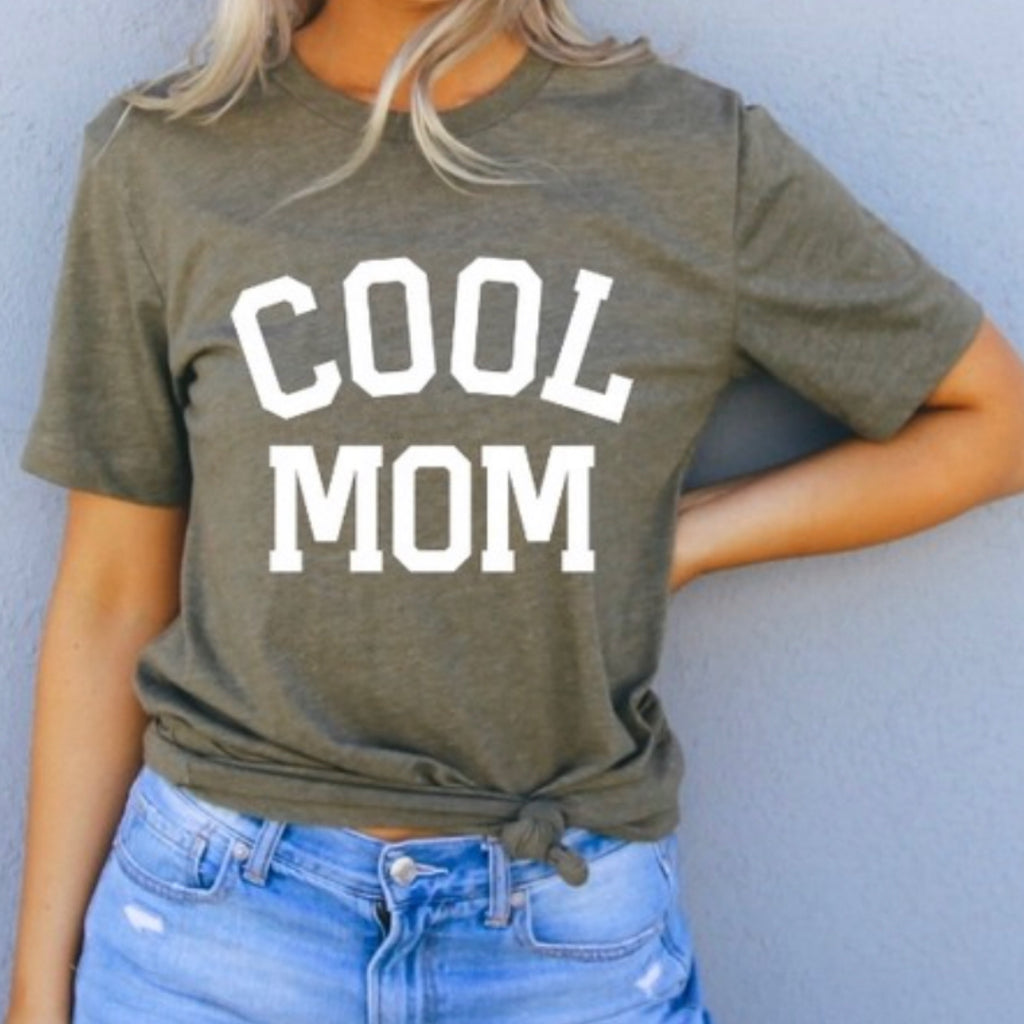 Cool Mom Graphic Print Tee Heather Olive