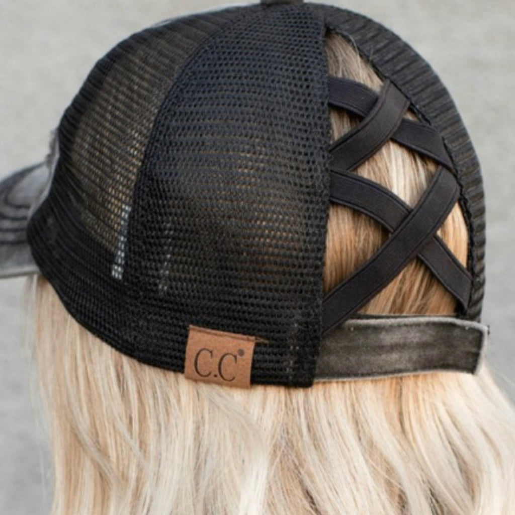 C.C Washed Denim with Crossed Elastic Band Mesh Pony Cap Black