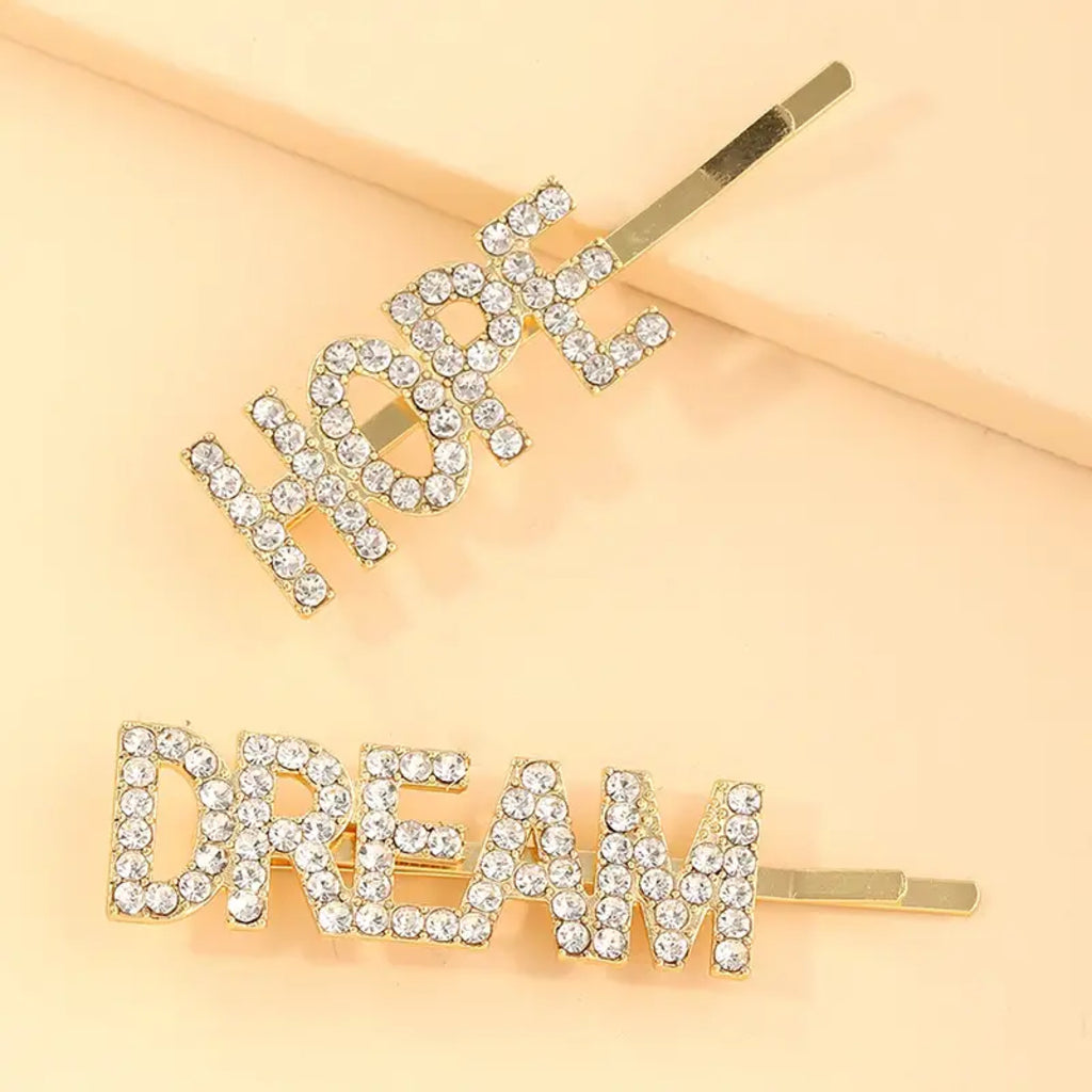 Gold Rhinestone Hope Dream Slide Set