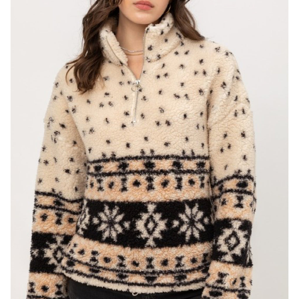 Baby It's Cold Outside Sherpa Pullover Cream