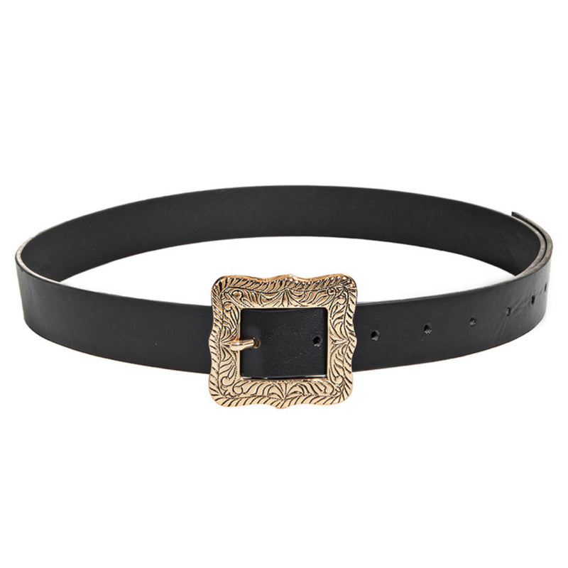 Faux Leather Ornate Buckle Fashion Belt