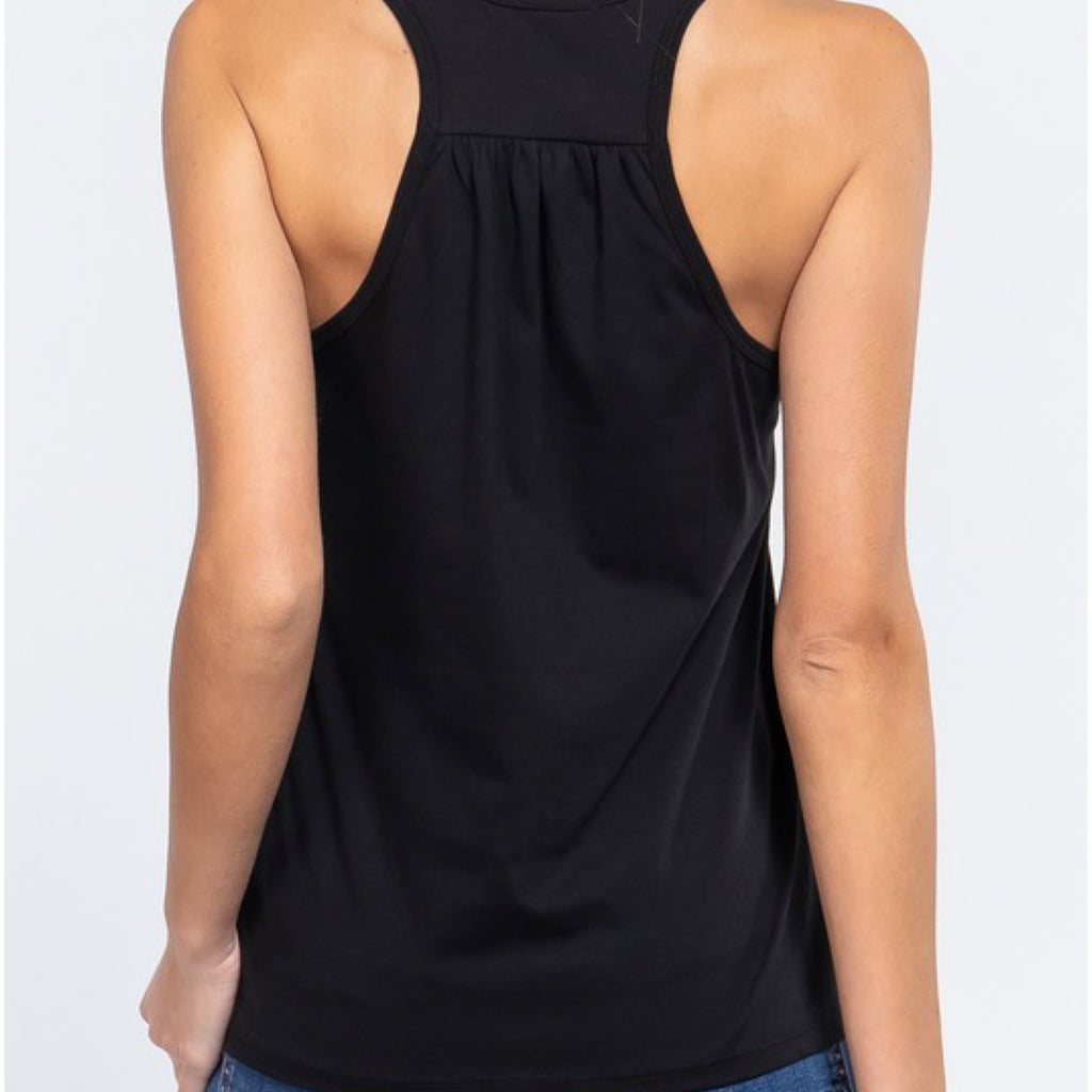 Simply Racer Back Top Black