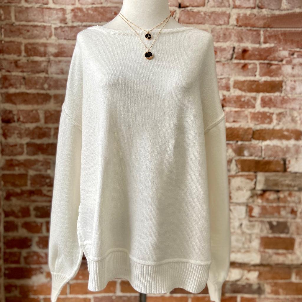 Michael Solid White Sweater