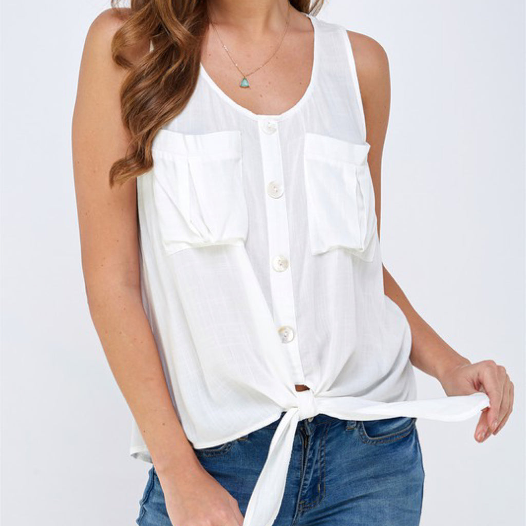 Allie Rose Linen Button Down Top Off White