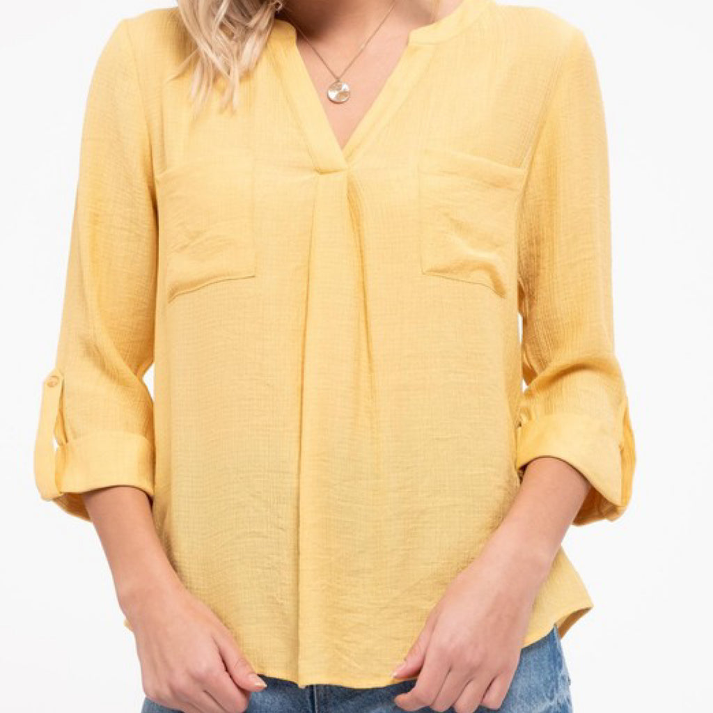 Collin V-Neck Roll Up Sleeve Top Yellow