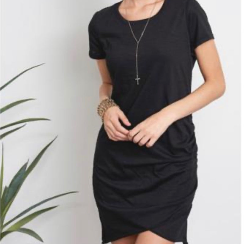 Solid Ruched T-Shirt Dress Black