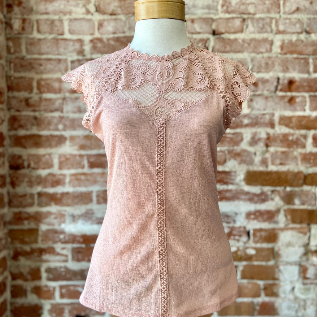 Stephanie Contrast Lace Knit Top Blush