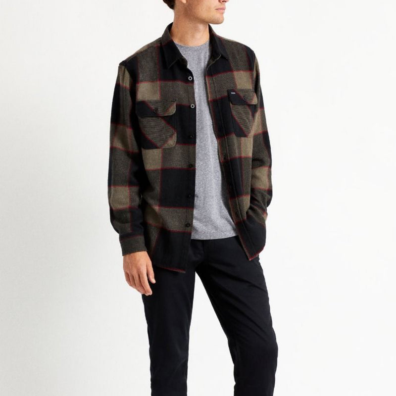 BOWERY L/S FLANNEL - H.GRY/CHARCOAL