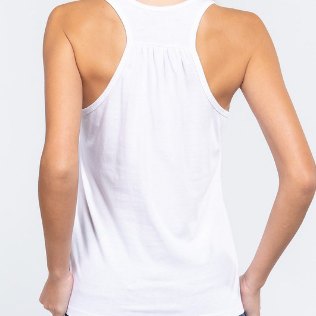Simply Racer Back Top White