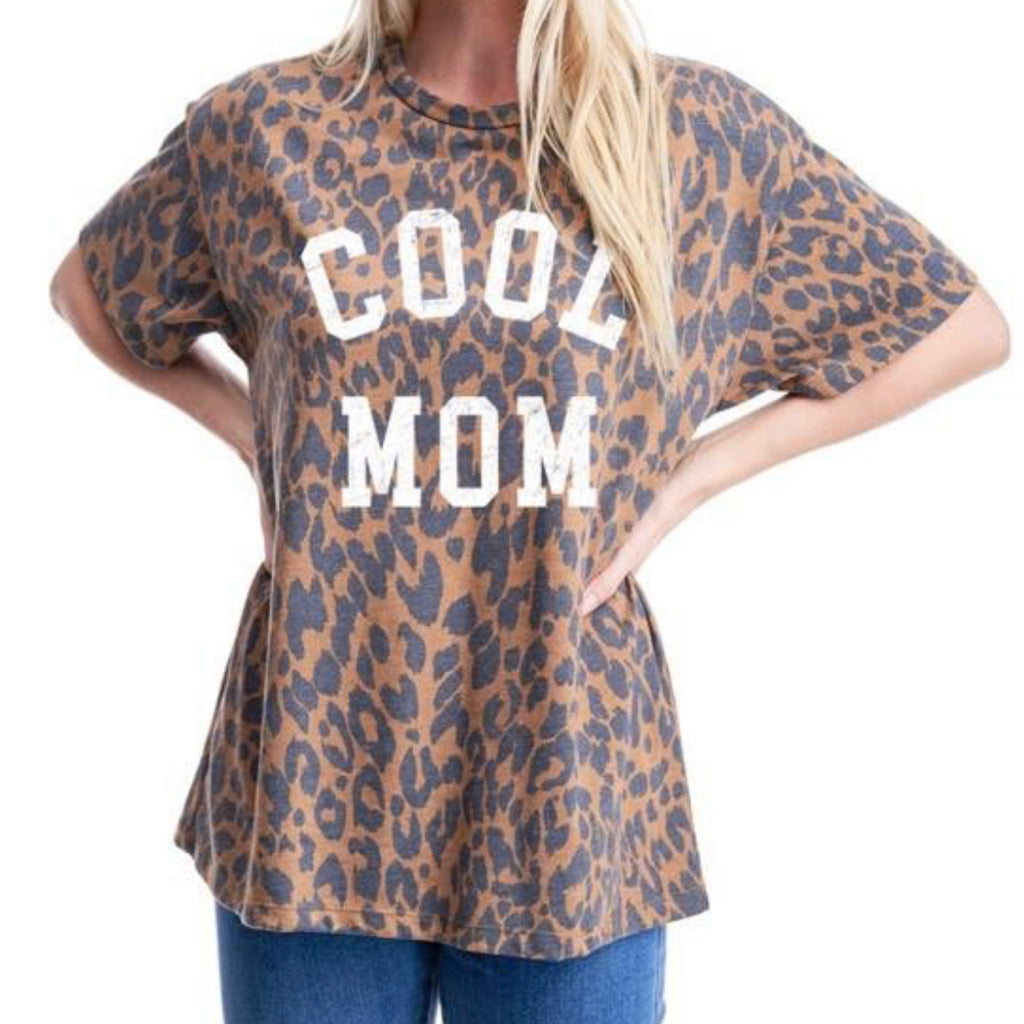 F625-0874  Cool Mom Leopard Print Tee