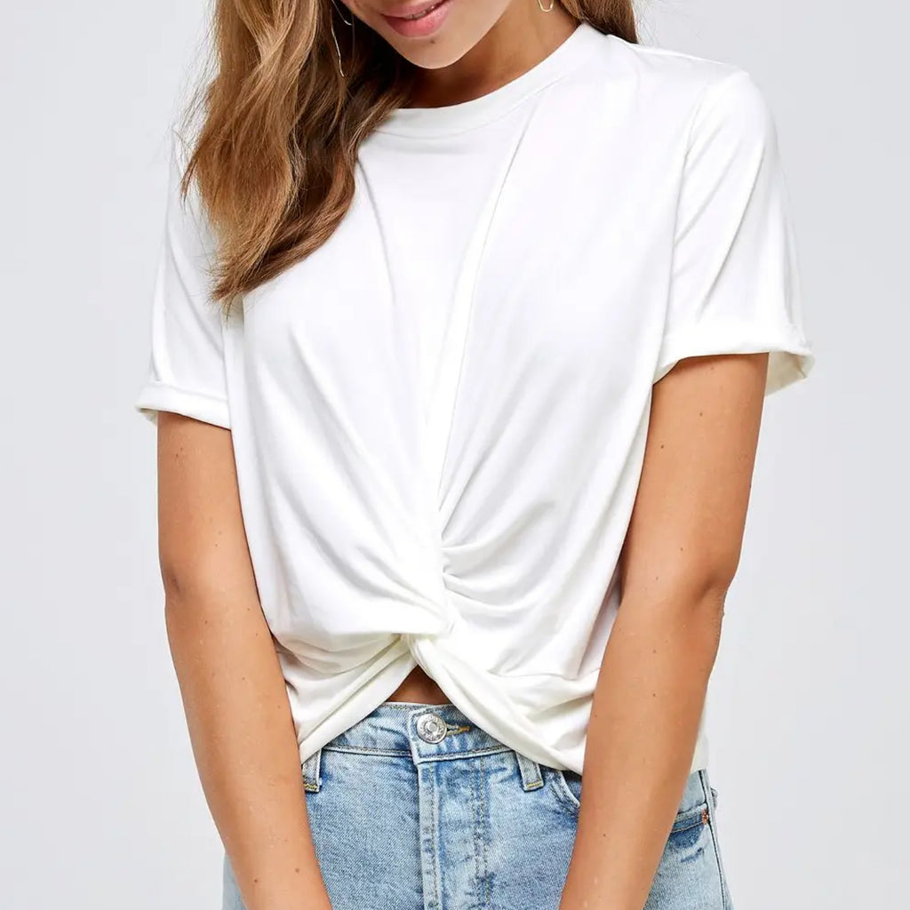 Avery Twist Front Knot Top Off White