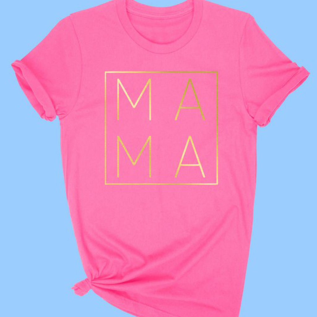 PREORDER Gold Foil Mama Graphic Print Tee Hot Pink