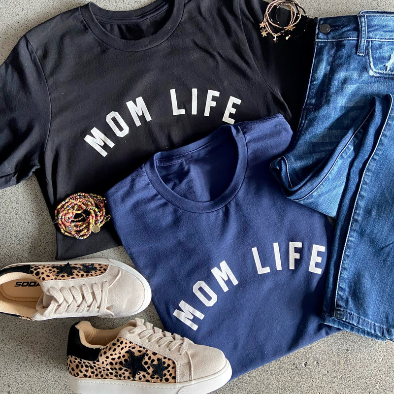 Mom Life Graphic Print Tee Navy