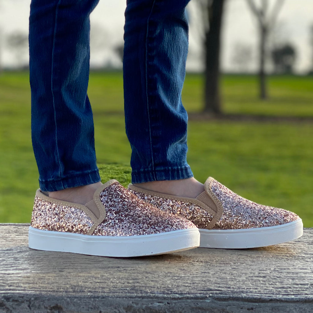 Trait-II Glitter Slip On Girl's Sneakers