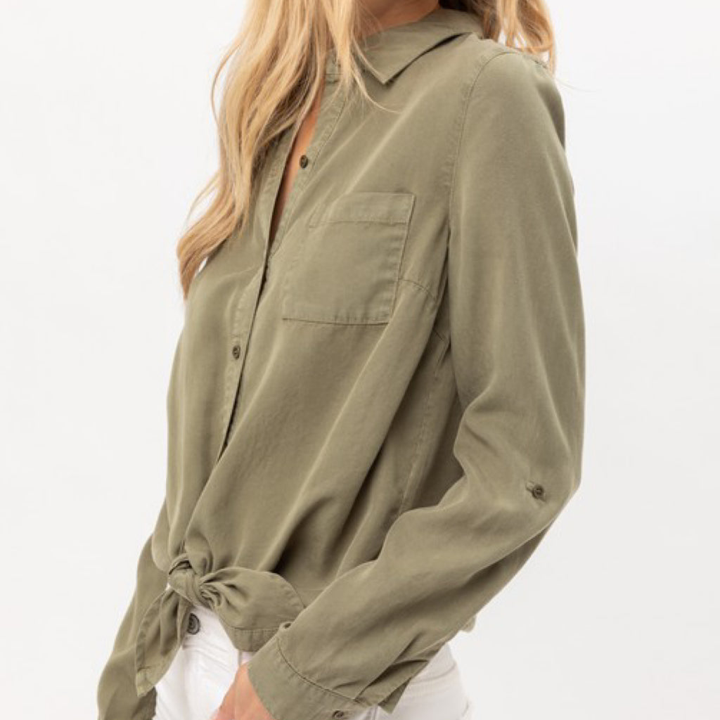 Cassie Button Down Front Tie Knot Top Olive