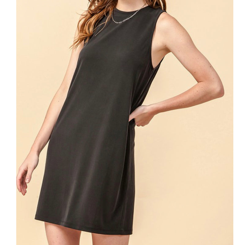 Crew Neck Mini Dress Black