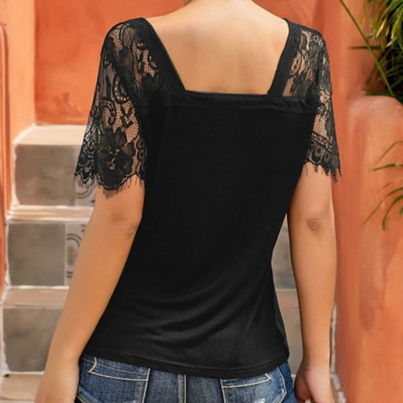 LC252995 Sweet Side Lace V Neck Top