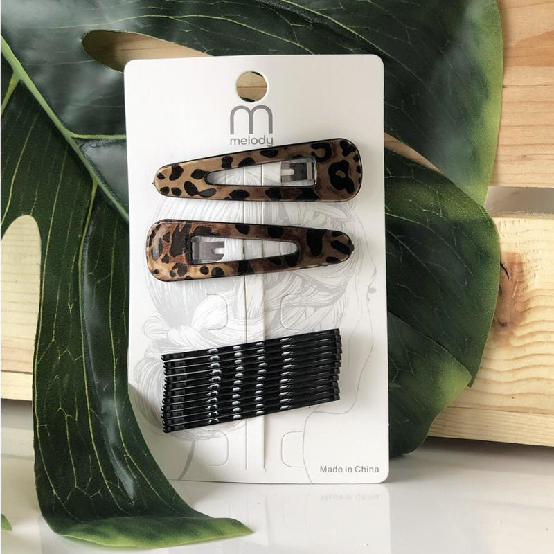 DH-700 CHEETAH HAIR CLIP SET TAN