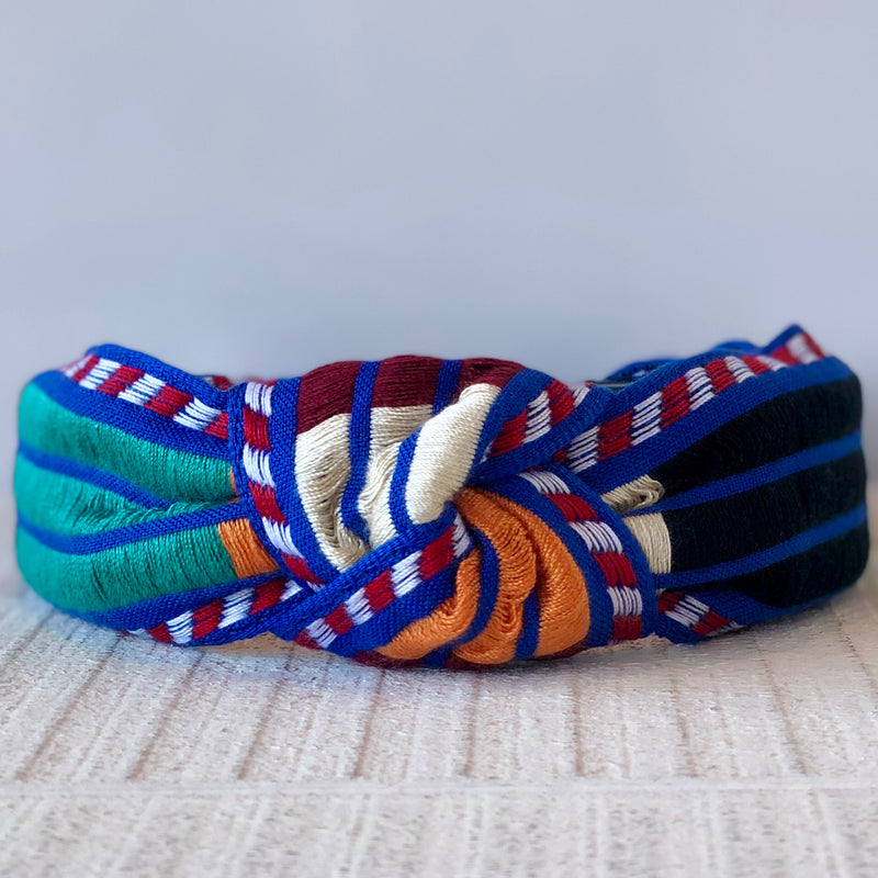 LCHB416 MULTI COLOR BOHO STRIPE KNOTTED HEAD BAND
