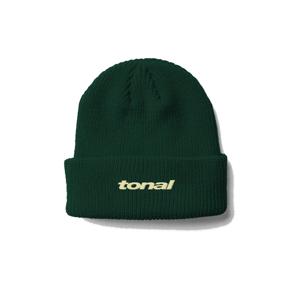HEAVY KNIT BEANIE - DARK GREEN / IVORY