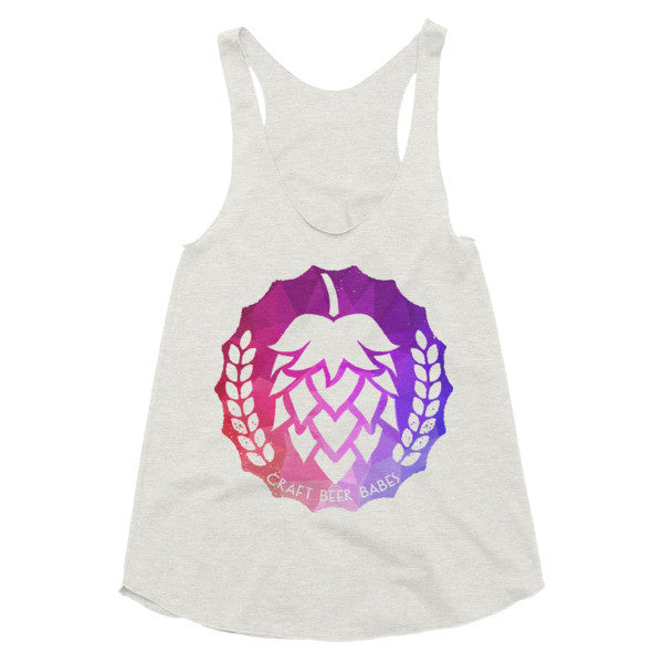 Hop Badge: Geometric Purple and Pink Women's racerback tank - Craft Beer Babes - 2
