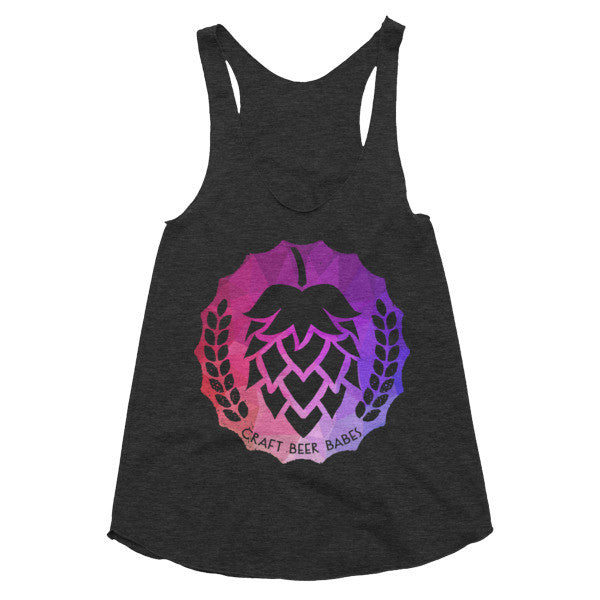Hop Badge: Geometric Purple and Pink Women's racerback tank - Craft Beer Babes - 1