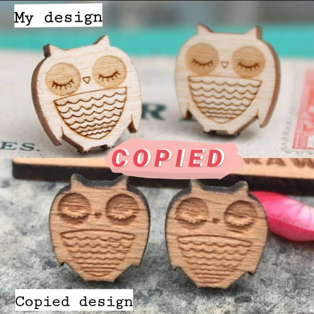 An image comparing two similar pairs of earrings. One is a beautifully designed owl made out of wood and the other you can clearly see has been made with less care and probably mass produced.