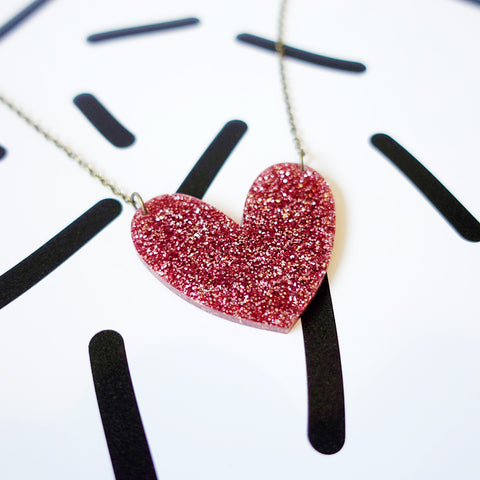 Glitter Heart Necklace