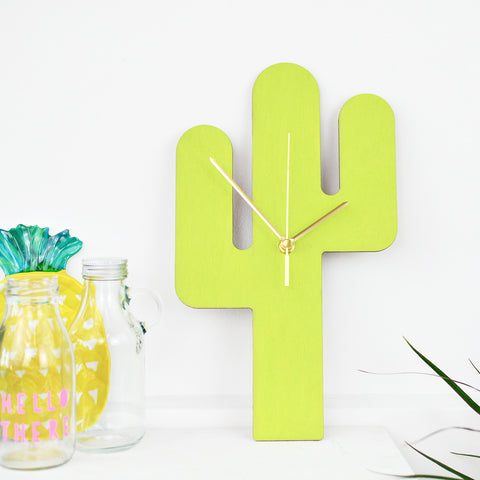 Cactus Clock | Green Cactus Wall Clock | Kitchen Decor Homewares