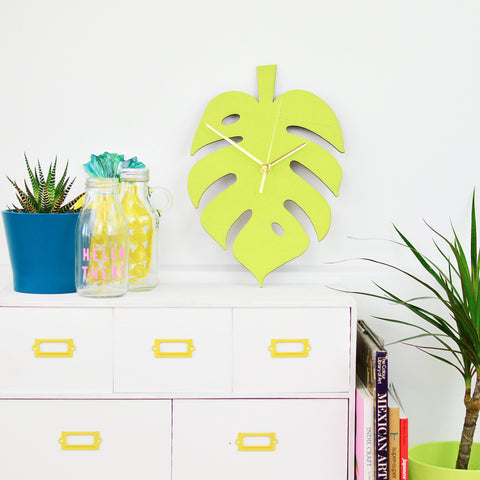 Cheese Plant Clock | Green Monstera Leaf Wall Clock | Kitchen Decor Homewares
