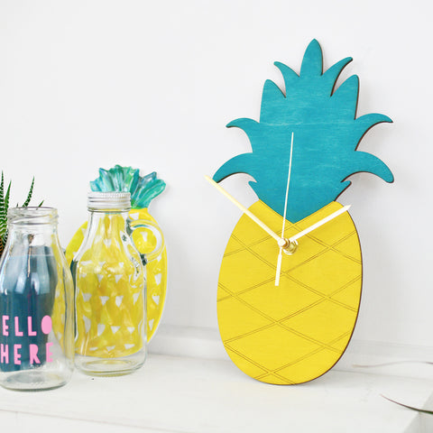Pineapple Clock | Colourful Wall Clock | Fruit Decor Homewares